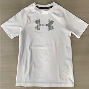 Boys Under Armour White Heatgear Dry Fit Shirt